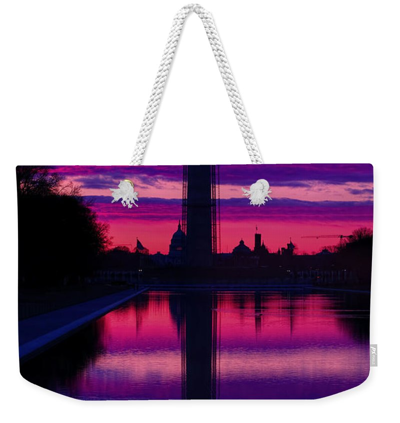 Metro Weekender Tote Bag featuring the photograph Repairing The Monument II by Metro DC Photography