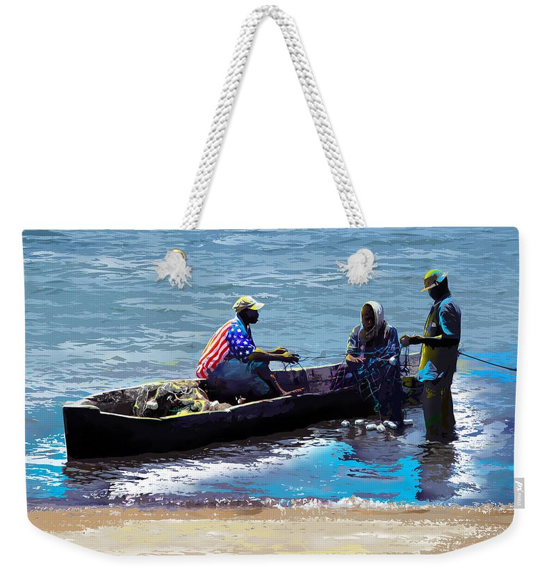 Lake Weekender Tote Bag featuring the painting Repairing The Net At Lake Victoria by Anthony Mwangi