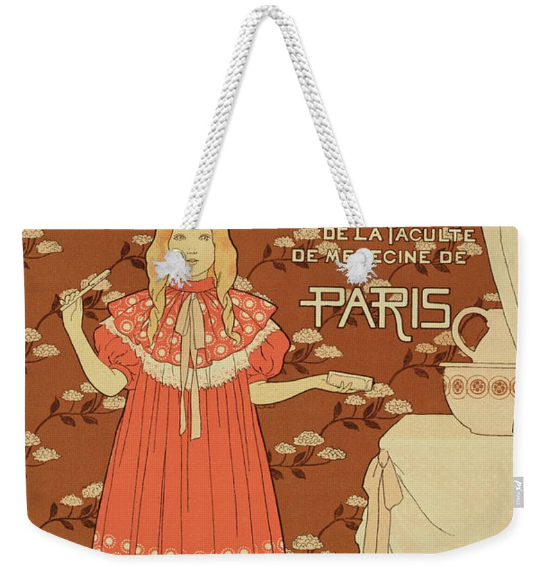 Advert Weekender Tote Bag featuring the painting Reproduction Of A Poster Advertising Doctor Peters Toothpaste by Louis Maurice boutet de Monvel