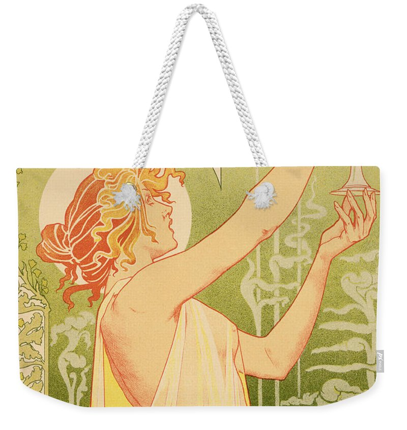 Advert; Advertisement; Alcohol; Liqueur; Alcoholic Drink; Beverage; Art Nouveau; Female; Holding Up A Glass Weekender Tote Bag featuring the painting Reproduction Of A Poster Advertising 'robette Absinthe' by Livemont