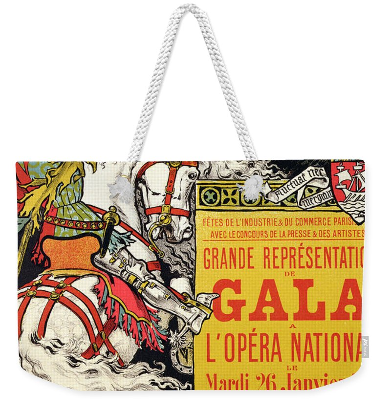 Advert Weekender Tote Bag featuring the painting Reproduction Of A Poster Advertising The Fetes De Paris by Eugene Grasset