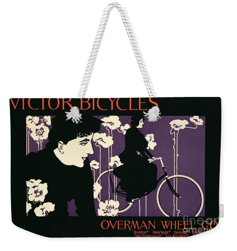 Advert Weekender Tote Bag featuring the painting Reproduction Of A Poster Advertising Victor Bicycles by American School