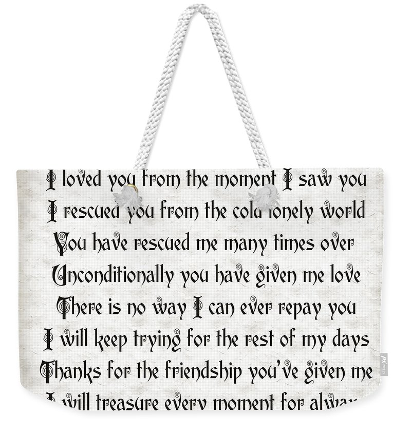 Animal-rescue Weekender Tote Bag featuring the digital art Rescue Love by Andee Design