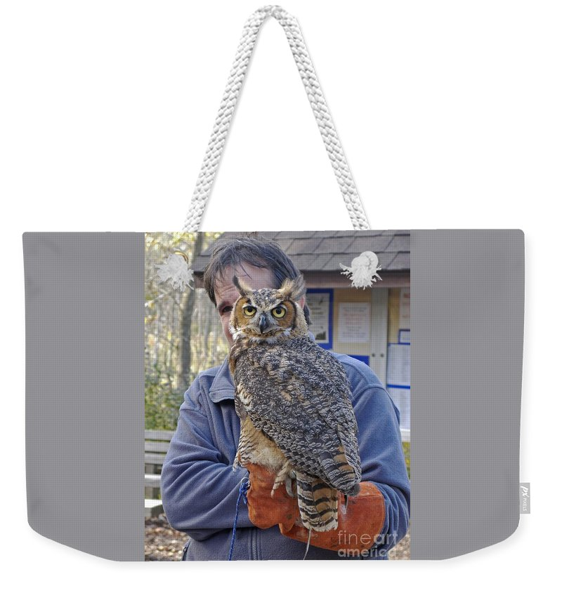Owl Weekender Tote Bag featuring the photograph Rescued by Ann Horn