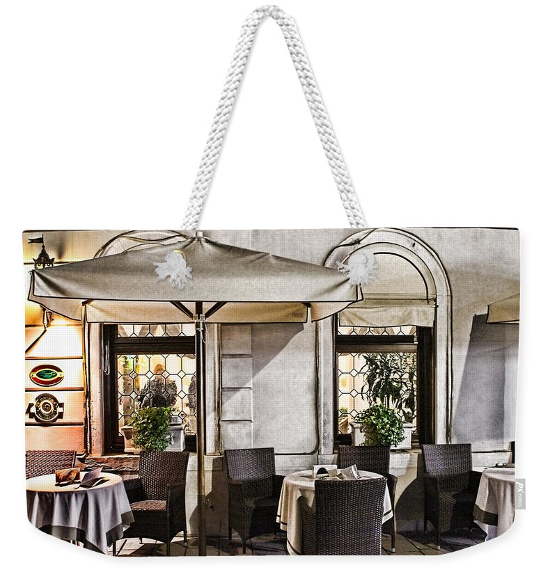 Europe Weekender Tote Bag featuring the photograph Reservations Only Venice Italy by Tom Prendergast