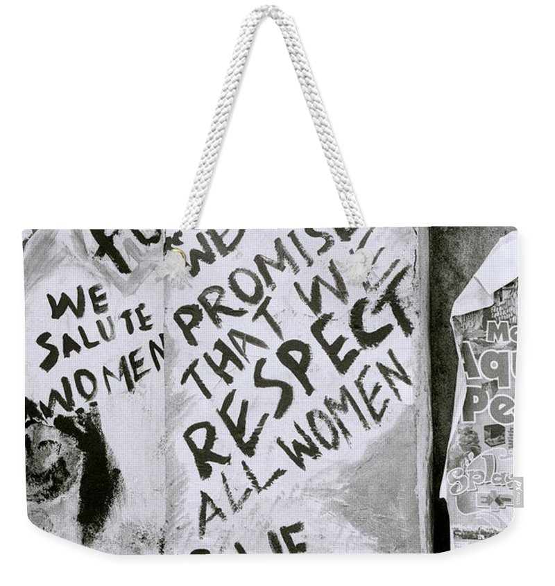 India Weekender Tote Bag featuring the photograph Respect Women Graffiti by Shaun Higson