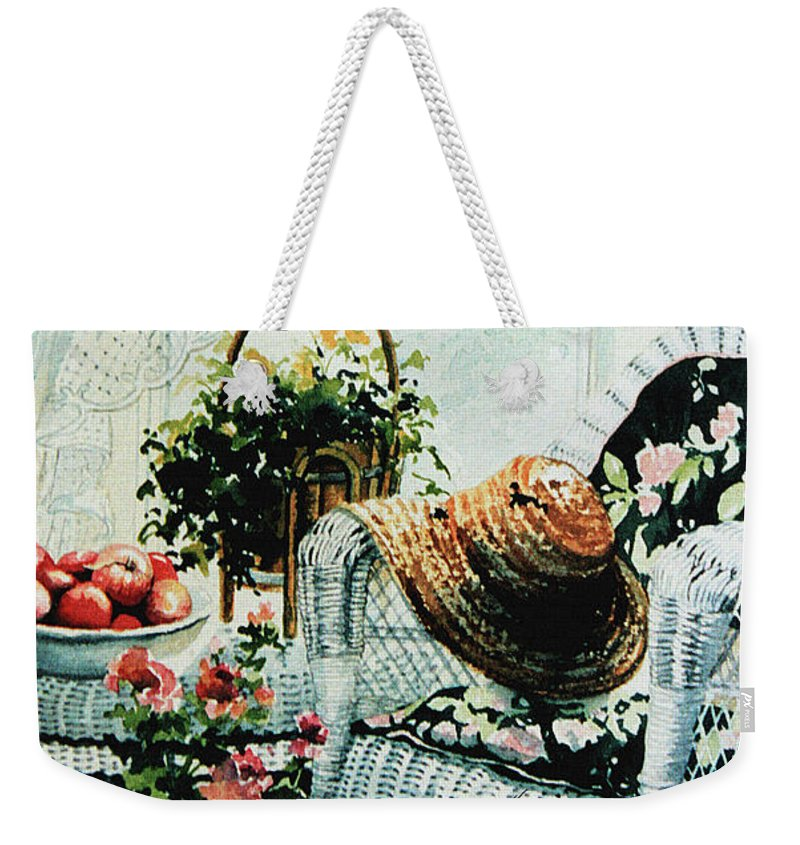 Garden Room Still Life Weekender Tote Bag featuring the painting Rest From Garden Chores by Hanne Lore Koehler