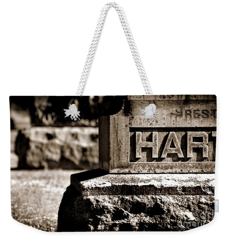 Ancient Weekender Tote Bag featuring the photograph Rest Hart Bw by Henrik Lehnerer