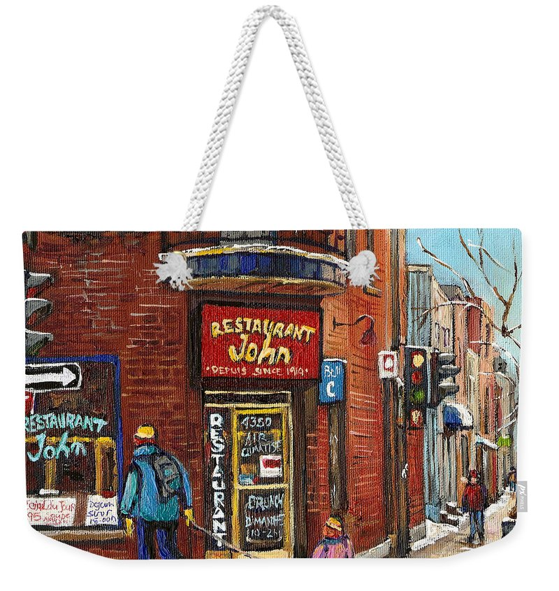 Restaurant John Weekender Tote Bag featuring the painting Restaurant John by Carole Spandau