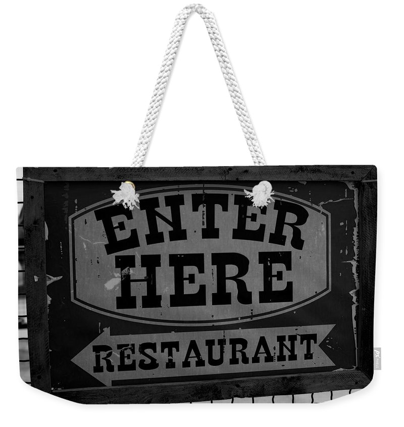Restaurant Sign Weekender Tote Bag featuring the photograph Restaurant Sign by Cathy Anderson