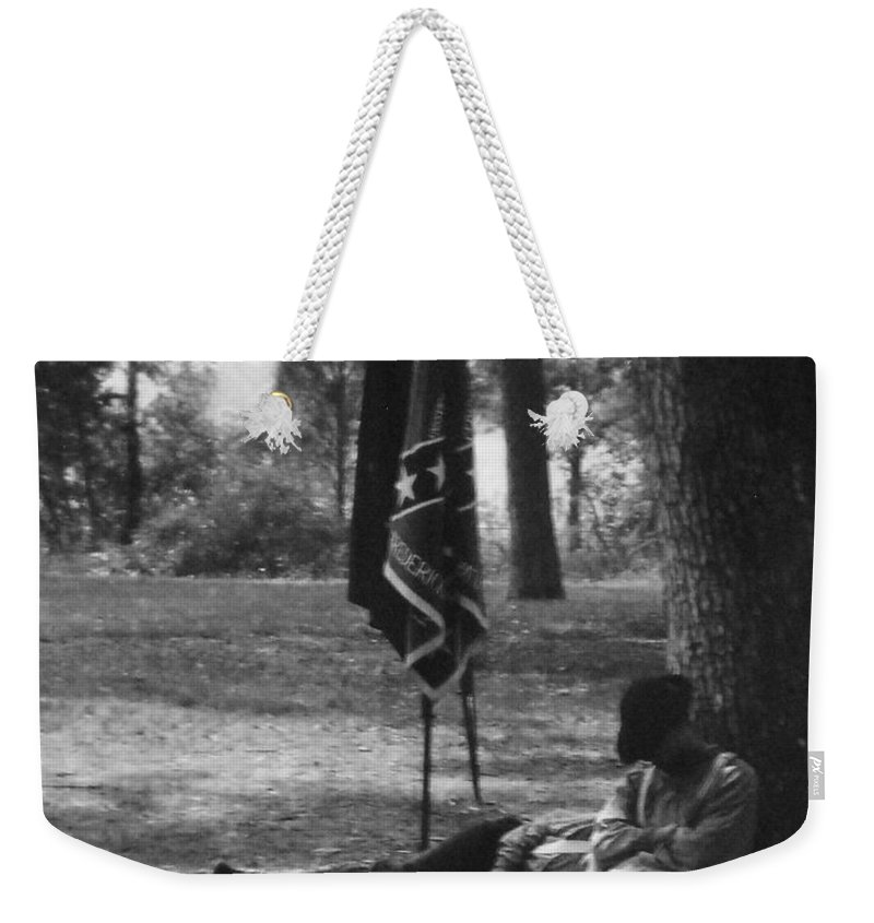 Black And White Weekender Tote Bag featuring the photograph Resting At Gettysburg by Eric Liller