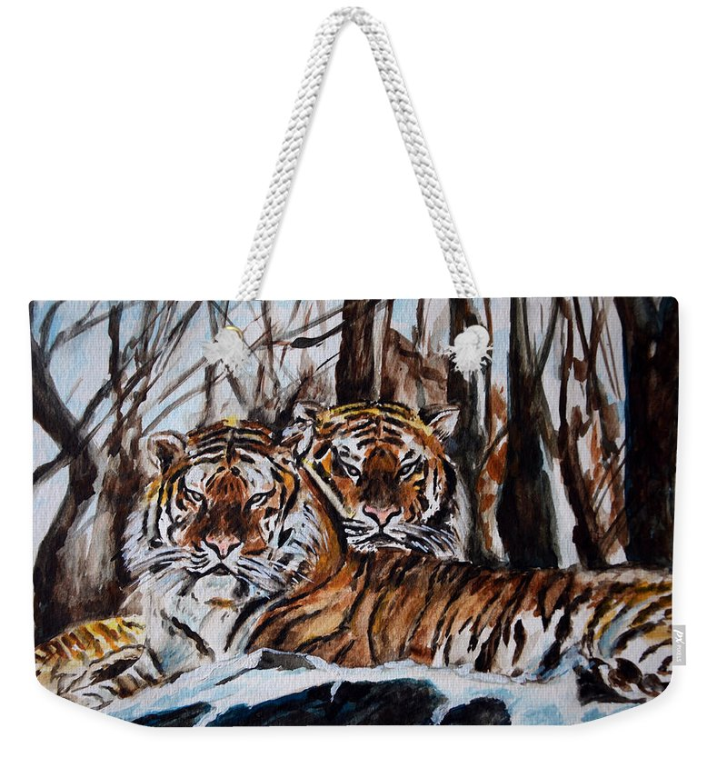 Tiger Weekender Tote Bag featuring the painting Resting by Harsh Malik