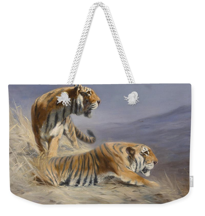 Animals Weekender Tote Bag featuring the painting Resting Tigers by Lilian Cheviot