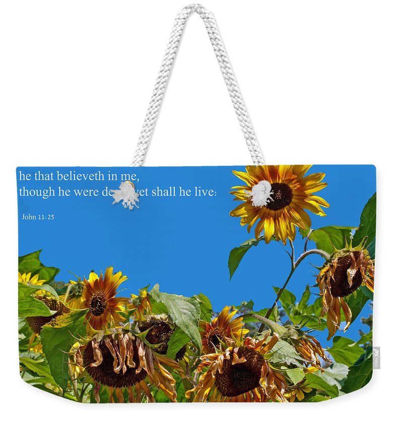 Firstfruits Weekender Tote Bag featuring the photograph Resurrected Life by Tikvah's Hope