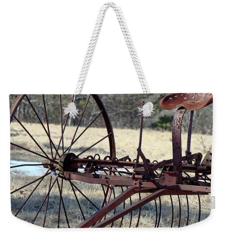 Farm Weekender Tote Bag featuring the photograph Retired Hay Rake by Mother Nature