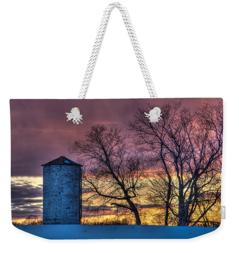 Silo Weekender Tote Bag featuring the photograph Retired Silo Watching Sunset by Paul Freidlund