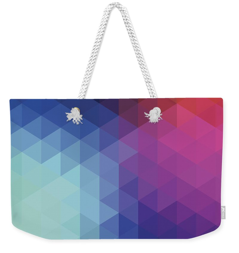 Triangle Shape Weekender Tote Bag featuring the digital art Retro Hexagon Abstract Background by Mustafahacalaki