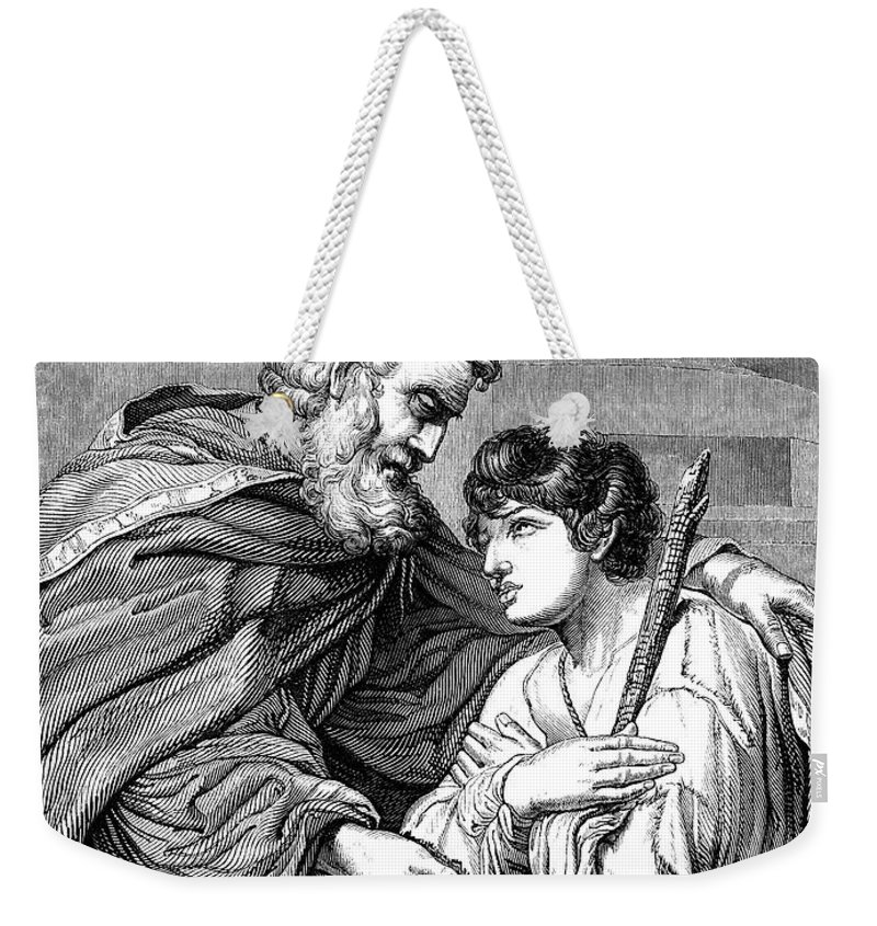Engraving Weekender Tote Bag featuring the digital art Return Of The Prodigal Son Victorian by Whitemay