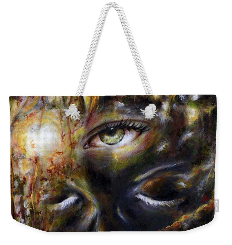 Eye Weekender Tote Bag featuring the painting Revelation by Hiroko Sakai