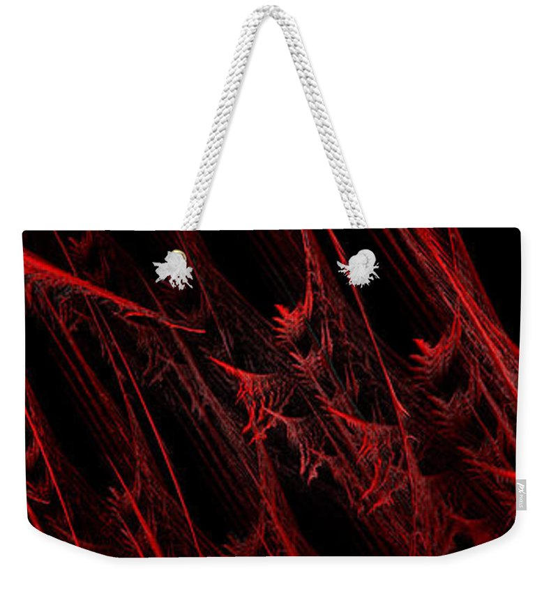 Abstract Weekender Tote Bag featuring the digital art Rhapsody In Red H - Panorama - Abstract - Fractal Art by Andee Design