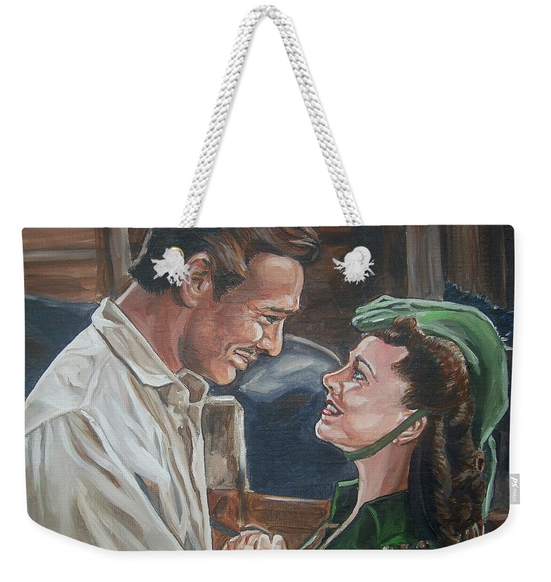 Gone With The Wind Weekender Tote Bag featuring the painting Rhett And Scarlett by Bryan Bustard