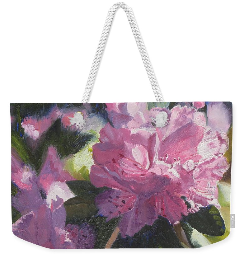 Flowers Weekender Tote Bag featuring the painting Rhododendron Squared by Lea Novak