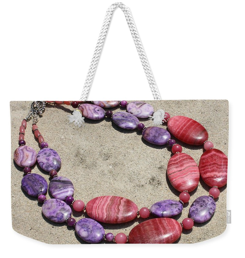 Original Handmade Jewelry Weekender Tote Bag featuring the jewelry Rhodonite And Crazy Lace Agate Double Strand Chunky Necklace 3636 by Teresa Mucha