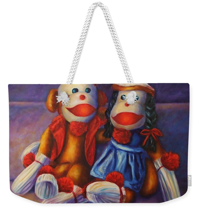 Sock Monkey Weekender Tote Bag featuring the painting Rhyme and Reason by Shannon Grissom
