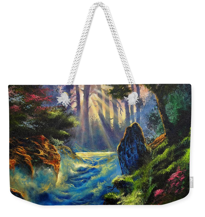 Landscape Weekender Tote Bag featuring the painting Rhythms Of A Vision by Marco Antonio Aguilar