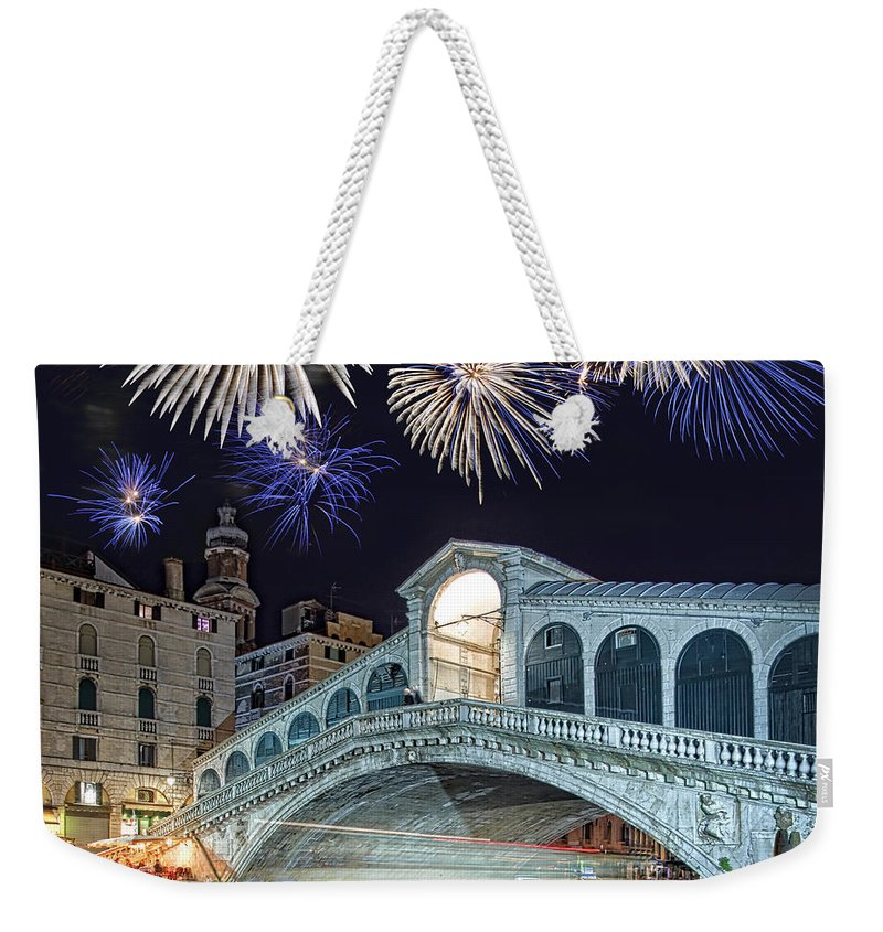 Venice Weekender Tote Bag featuring the photograph Rialto Bridge Fireworks by Delphimages Photo Creations