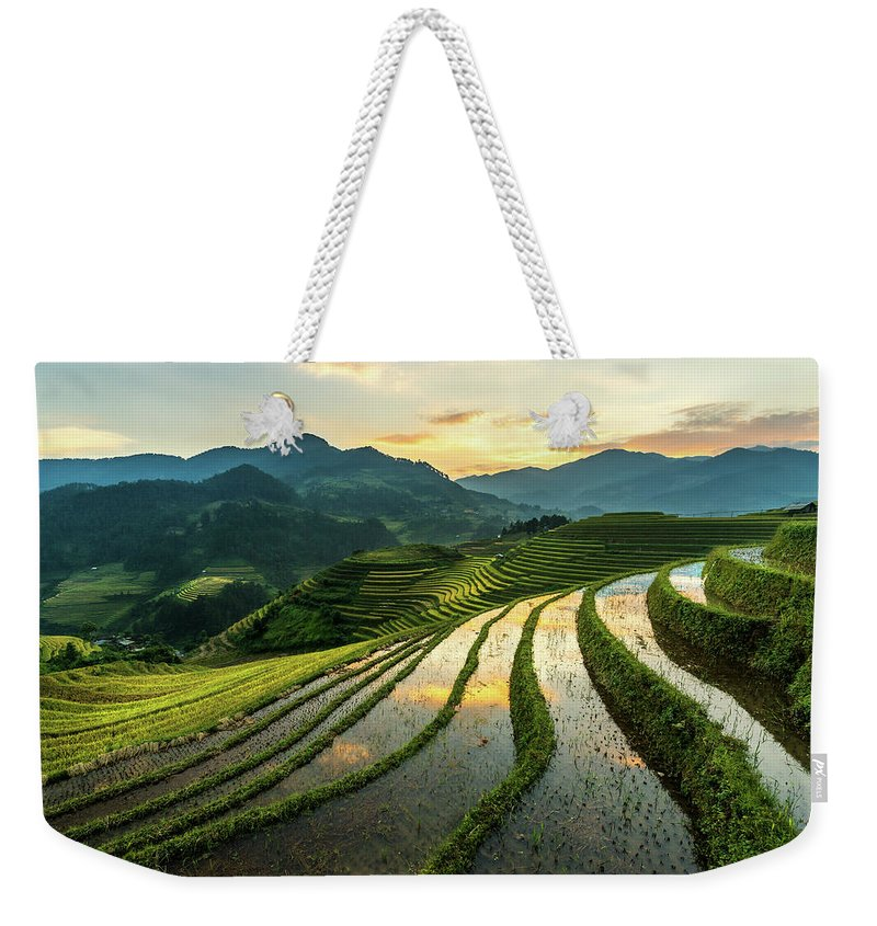 Scenics Weekender Tote Bag featuring the photograph Rice Terraces At Mu Cang Chai, Vietnam by Chan Srithaweeporn