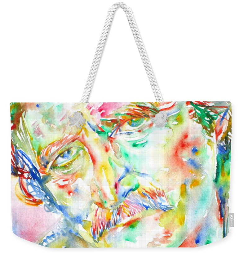 Richard Brautigan Weekender Tote Bag featuring the painting Richard Brautigan by Fabrizio Cassetta