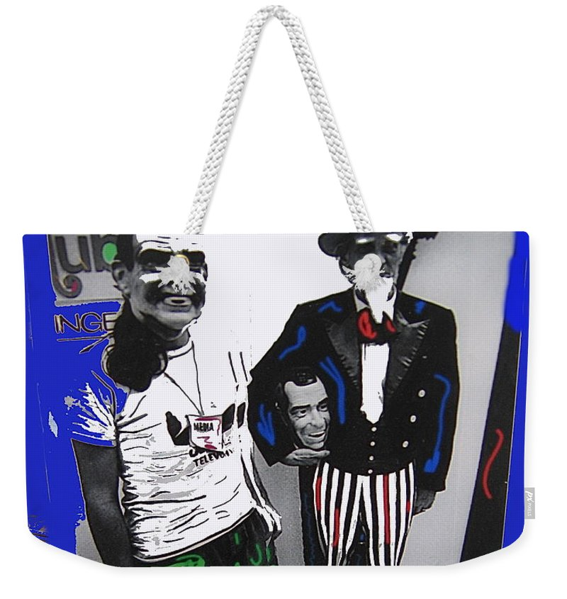 Richard Nixon Masks Uncle Sam Collage Democratic National Convention Miami Beach Florida 1972 Color Added Weekender Tote Bag featuring the photograph Richard Nixon Masks Uncle Sam Collage Democratic National Convention Miami Beach Florida 1972-2008 by David Lee Guss
