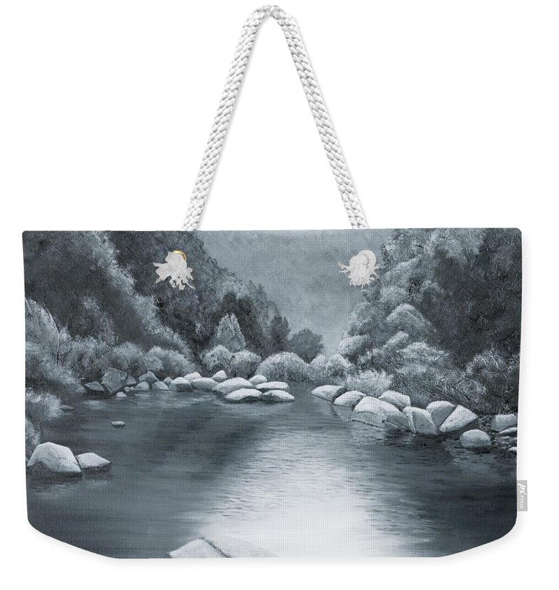 Ozarks Weekender Tote Bag featuring the painting Richland Creek by Garry McMichael