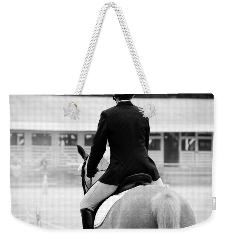 Horse Weekender Tote Bag featuring the photograph Rider In Black And White by Jennifer Ancker