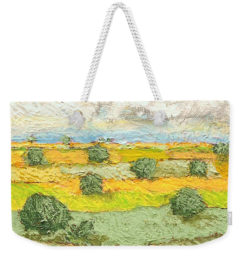 Landscape Weekender Tote Bag featuring the painting Ridge Vista by Allan P Friedlander