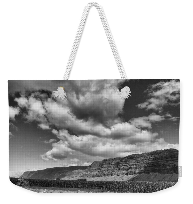 Ridges Weekender Tote Bag featuring the photograph Ridges Black And White by Douglas Barnard