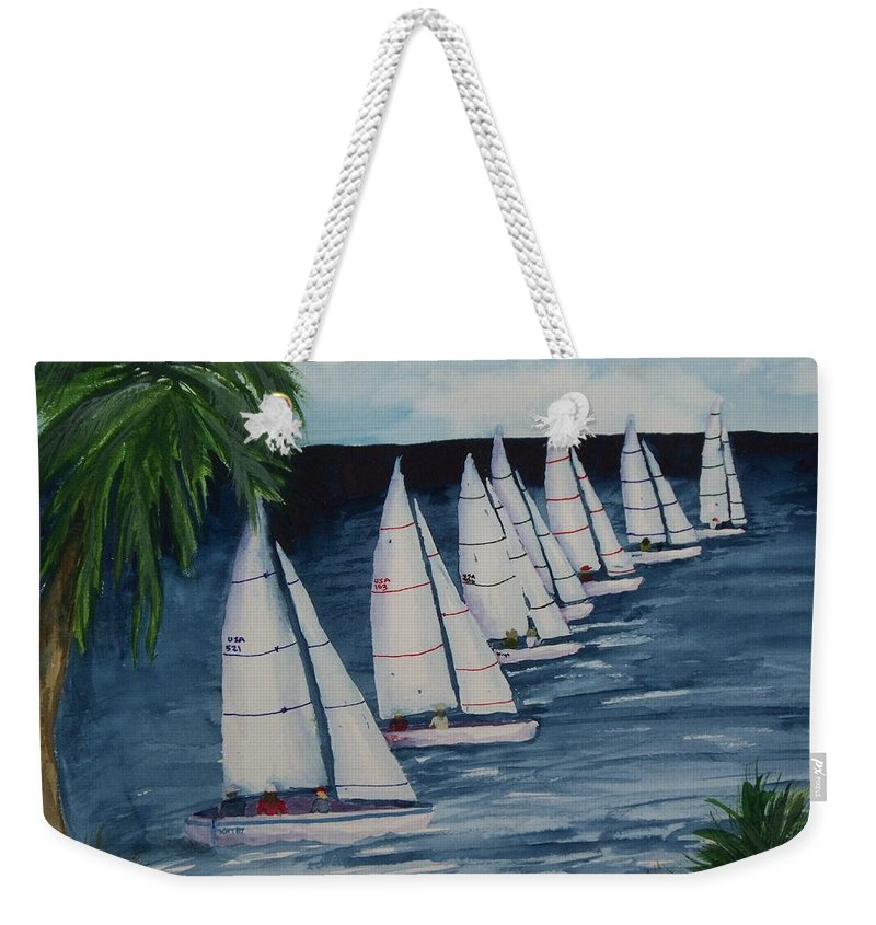 Sailboats Weekender Tote Bag featuring the painting Rigotta by Kathy Przepadlo