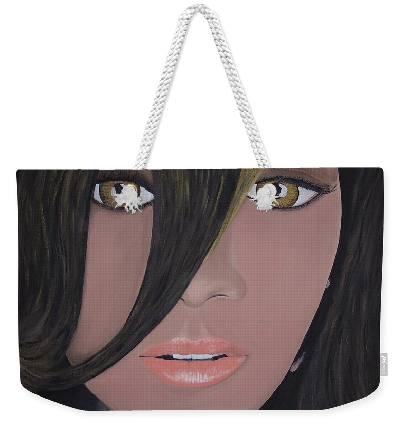 Acrylic Painting Weekender Tote Bag featuring the painting Rihanna by Dean Stephens