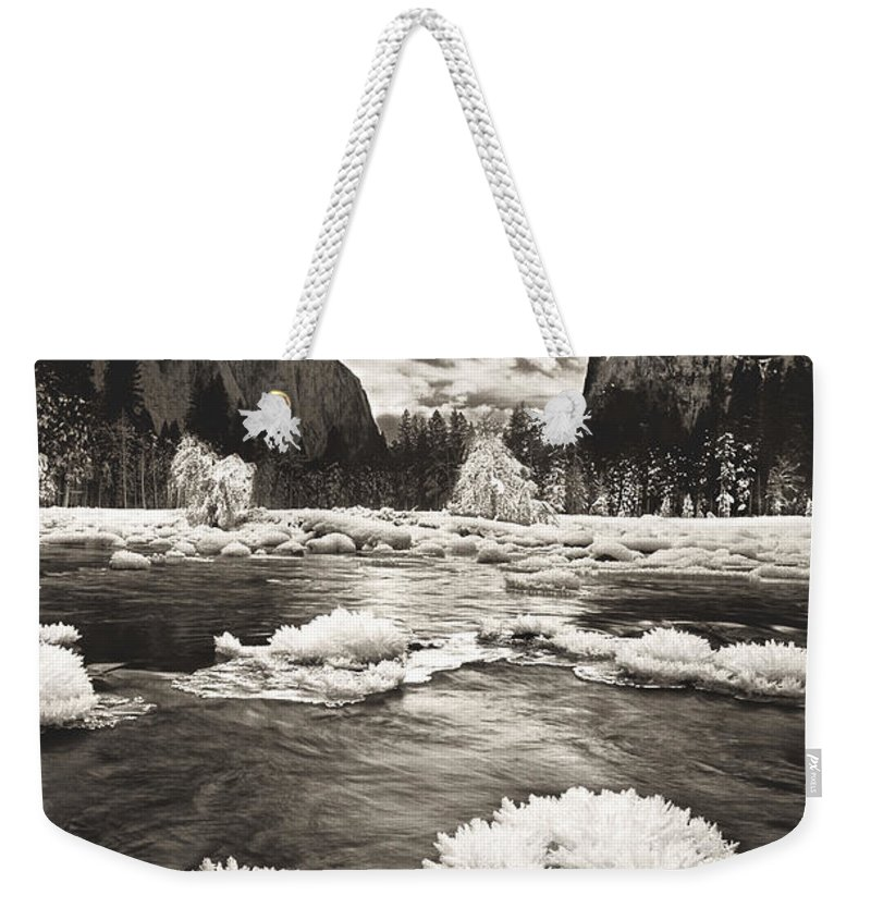 North America Weekender Tote Bag featuring the photograph Rime Ice On The Merced In Black And White by Dave Welling