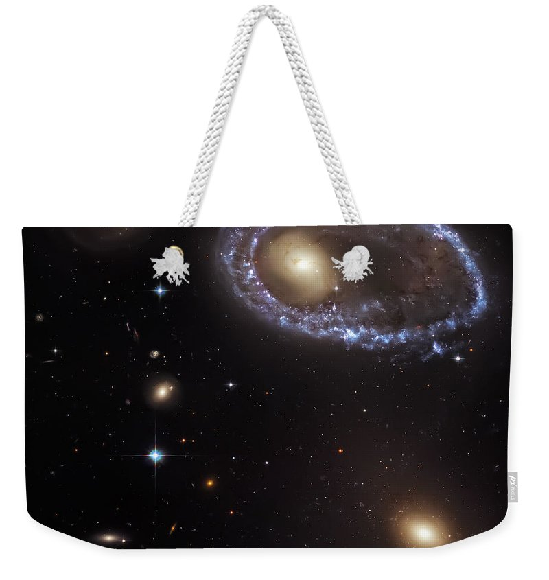 Universe Weekender Tote Bag featuring the photograph Ring Galaxy by Jennifer Rondinelli Reilly - Fine Art Photography