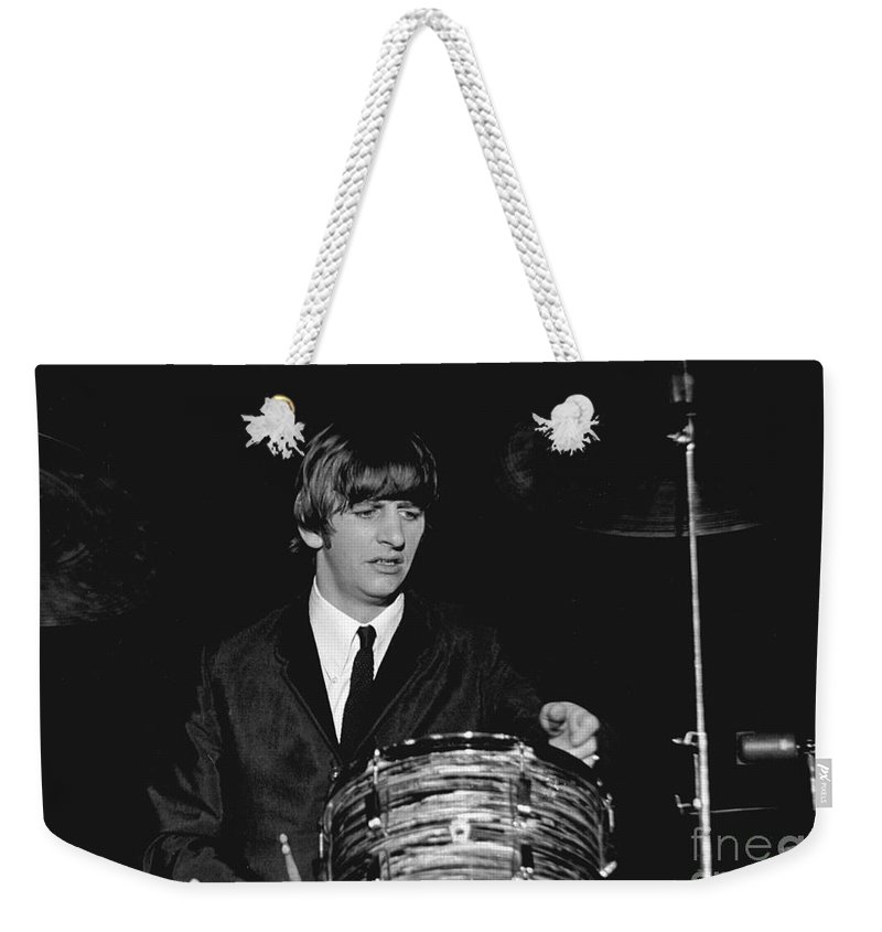 Beatles Weekender Tote Bag featuring the photograph Ringo Starr, Beatles Concert, 1964 by Larry Mulvehill