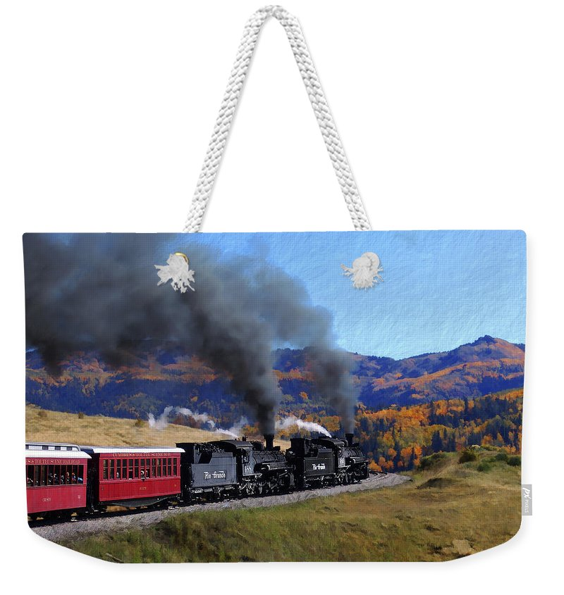 Railroad Weekender Tote Bag featuring the photograph Rio Grande 488 And 489 by Kurt Van Wagner