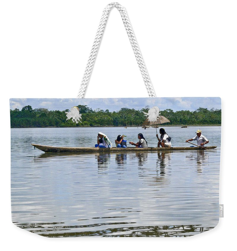 Rio Napo Weekender Tote Bag featuring the photograph Rio Napo Taxi by Allen Sheffield