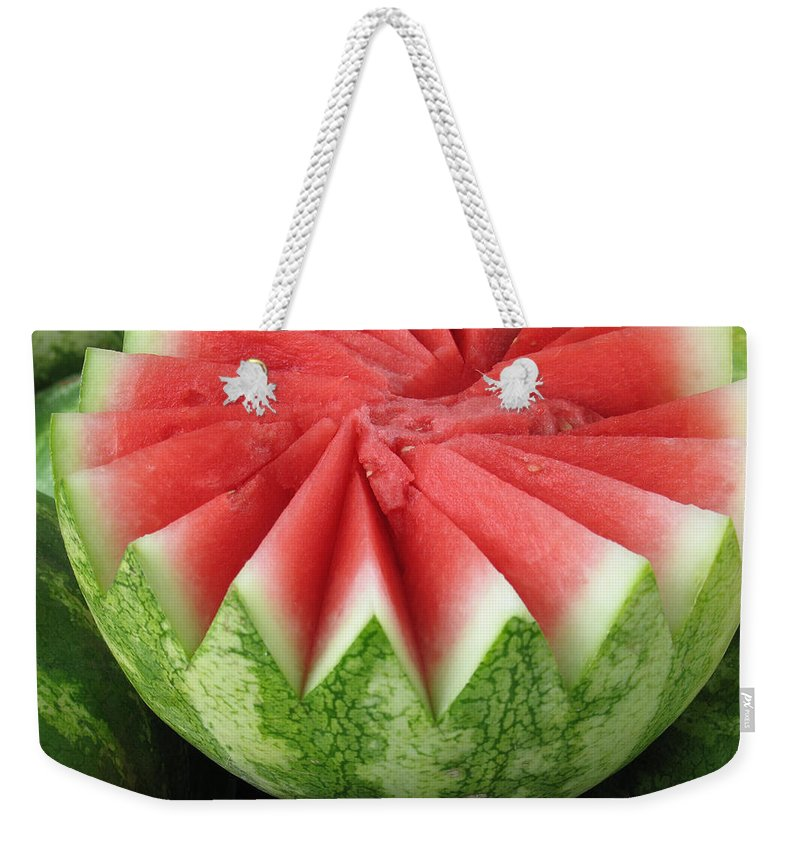 Watermelon Weekender Tote Bag featuring the photograph Ripe Watermelon by Ann Horn