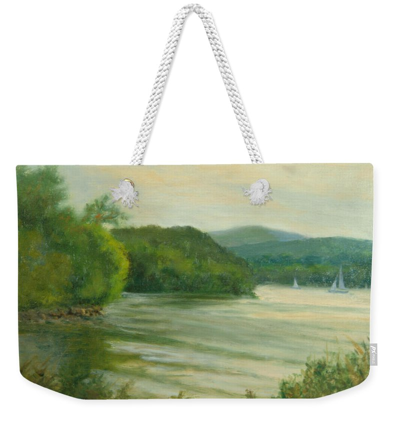 Hudson River Weekender Tote Bag featuring the painting Ripples At Garrison Landing by Phyllis Tarlow