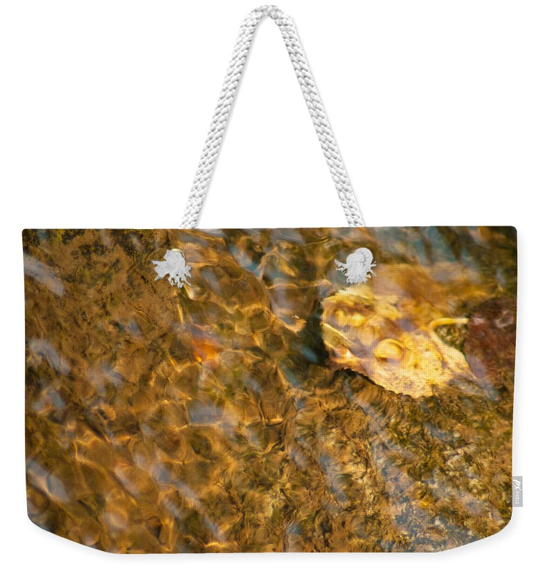 Optical Playground By Mp Ray Weekender Tote Bag featuring the photograph Rippling Autumn Leaf by Optical Playground By MP Ray