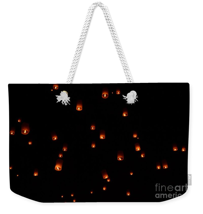 Rise Weekender Tote Bag featuring the photograph Rise Festival Lanterns 2014 Horizontal Sky Only Number One by Heather Kirk