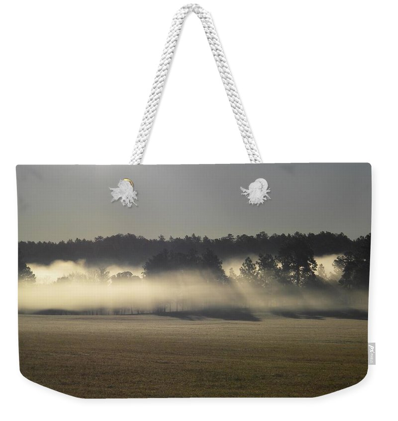 Postcard Weekender Tote Bag featuring the digital art Rising Field Of Fog by Matthew Seufer