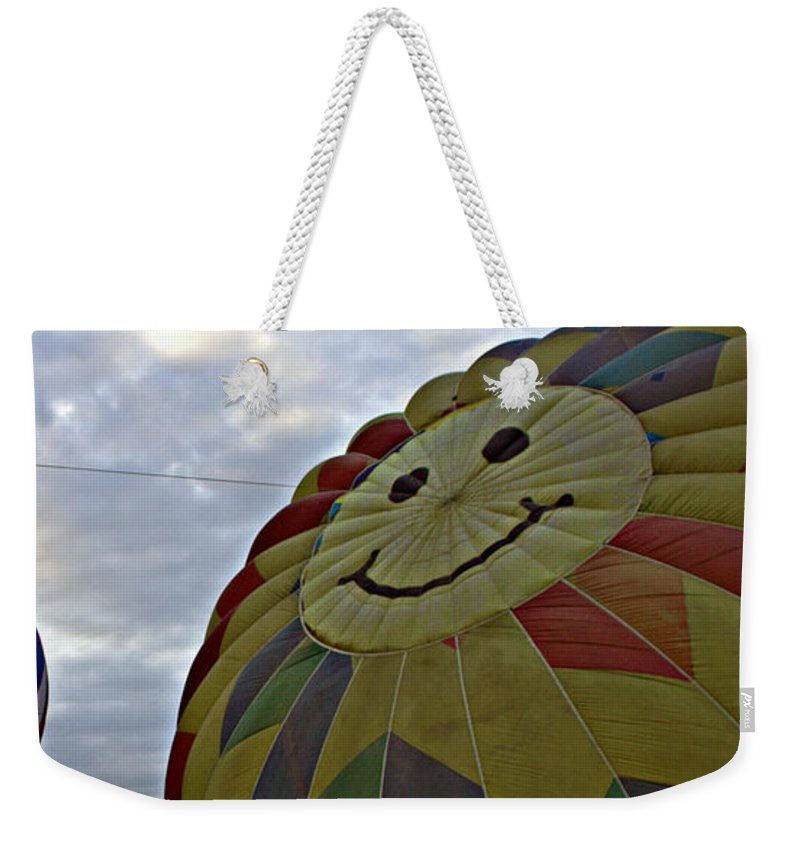 Hot Air Balloon Landscape Photography Weekender Tote Bag featuring the photograph Rising Titans by Catherine Melvin